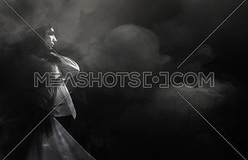 Dancing Darvish black and white copy space