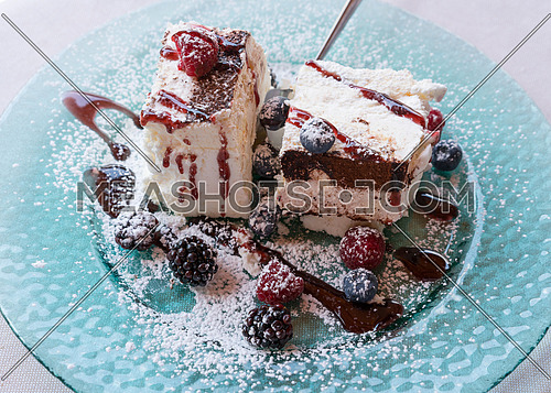 Sweet meringue cake(Pavlova) with fresh winter berry fruits on glass plate.