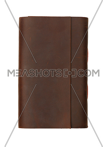 Close up of one vintage style jotter notebook with old leather cover isolated on white, elevated top view, directly above