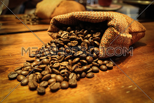 Coffee Beans bag on a wooden table