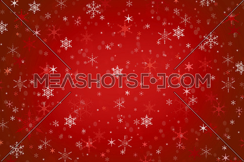 Abstract dark red Christmas holiday winter background of falling snow bokeh and snowflakes