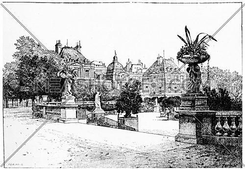 The Luxembourg Palace from the terrace, vintage engraved illustration. Paris - Auguste VITU – 1890.