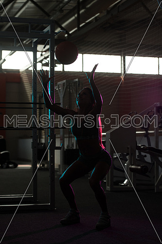 Silhouette Woman Exercising Ball In The Gym