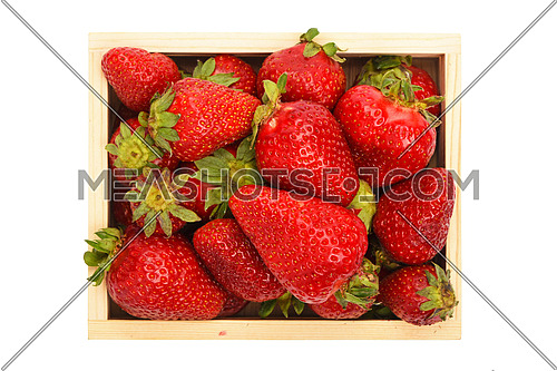 Mellow fresh red summer strawberries in wooden tray box isolated on white background, top view