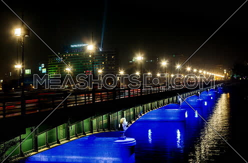 Fixed Shot for Qasr Al Nile Bridge at Night