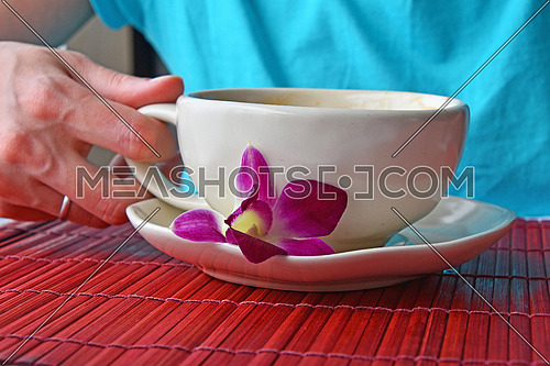 Woman hand holding latte coffee cup with orchid flower at porcelain saucer