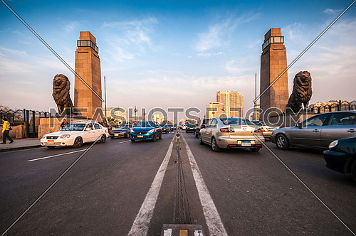 Long Shot for Qasr Al Nile Bridge from Day to Night