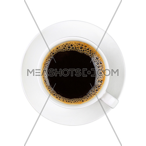 Close up one full white cup of black instant coffee on saucer isolated on white background, elevated top view, directly above