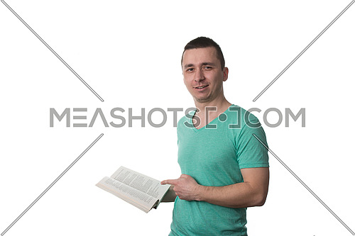 Man Wearing A Green T-shirt And He Is Reading A book - Over White Background Isolated