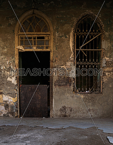 Door and window of an abandoned house, Cairo, Egypt