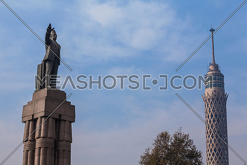 long Shot for Cairo Tower and Saad Zagloul Statue at Day