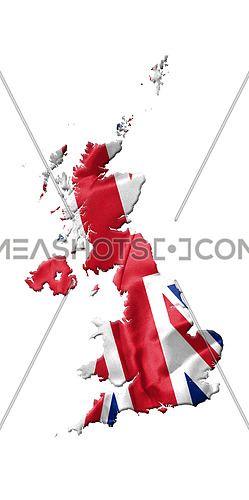 United Kingdom Map With Flag On It Isolated On White Background 3D illustration