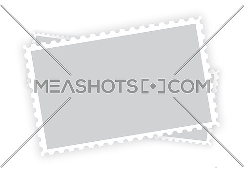 Three old retro style grey blank paper postage stamp frames with shadow isolated on white background