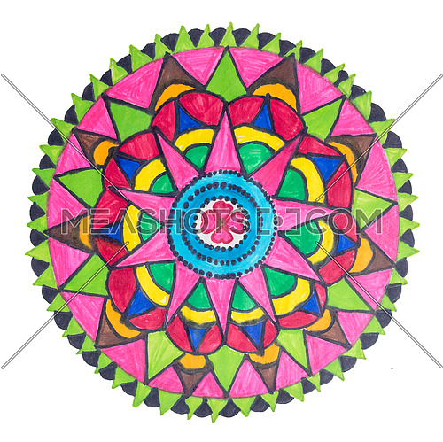 Colorful oriental decorative hand drawn mandala pattern