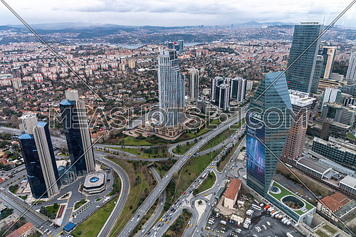Istanbul, Turkey - December 30, 2019: Istanbul city view from Istanbul Sapphire skyscraper overlooking the Bosphorus