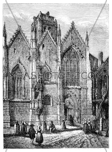 Church of Our Lady, a glass (Ille-et-Vilaine). - Drawing Catenacci., vintage engraved illustration. Magasin Pittoresque 1875.