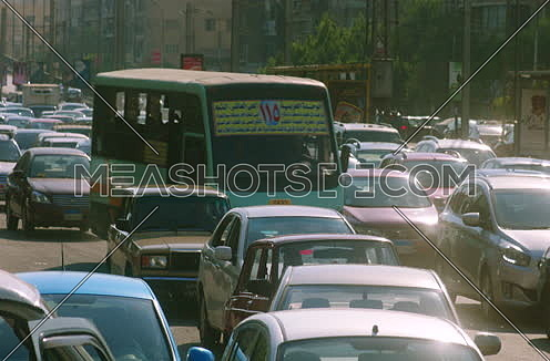 Mid shot for Traffic Jam in Cairo Downtown at noon