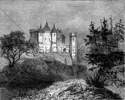 Abbotsford, Scotland, vintage engraved illustration. Magasin Pittoresque 1880.