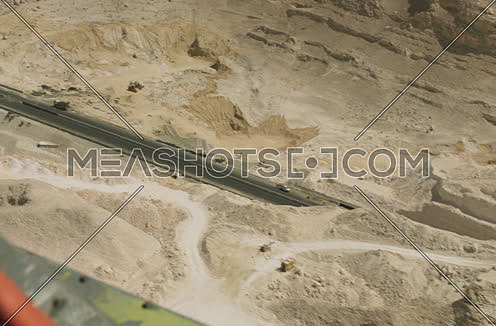 Arial shot form Helicopter for raod in the desert in Suez at day