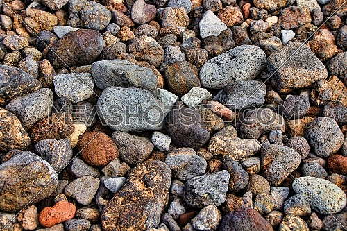 Pebbles stone texture and background. Abstract background made with stones.