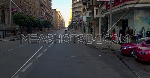 Tracking shot Drone for Street  in Cairo Downtown at early morning