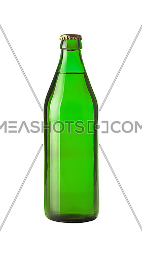 Close up one full green glass bottle of lager beer without label isolated on white background, low angle side view