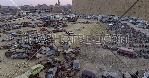 Fly over Shot for Wrecking yard in cairo at Day