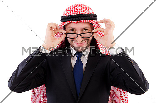Arab businessman in specs isolated on white