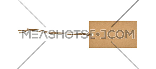 Close up one rectangular blank brown paper label or price tag isolated on white background