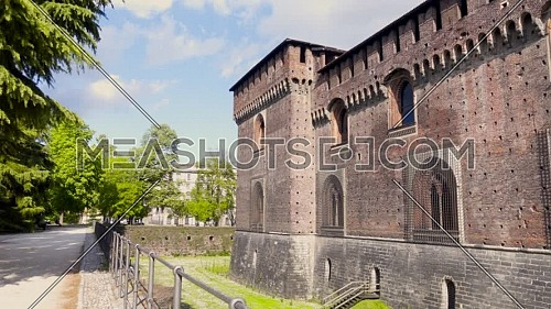 Old medieval Sforzesco Castle details,sunny day and clouds,Milan ,Italy.