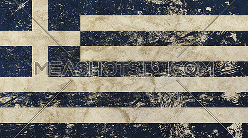 Old grunge vintage dirty faded shabby distressed national flag of Greece background