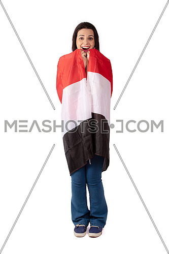 Egyptian female fan with Egyptian flag