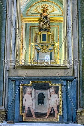 Jaen, Spain - may 2016, 2: Virgen de la Antigua that feeds the Holy child, dating from the 13th century-style Gothic, donated by Fernando III, the altarpiece is distributed on three levels with Doric, ionic and Corinthian orders and is the work of the brothers Francisco and Sebastian Solis, take in Jaen, Spain