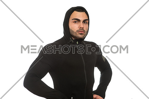 Young Muscular Man In Black Hooded Sweatshirt Showing Muscles - Isolated On White Background
