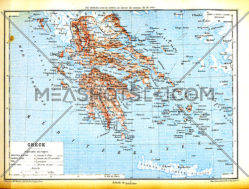 The map of Greece with explanation of signs on map.