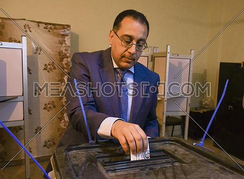 Dr. Mustapha Madbouli, Minister of Housing during the voting in the Egyptian presidential elections in 6th of October City  26 March 2018