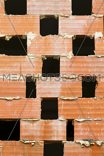 Textured red brick wall, conceptual image