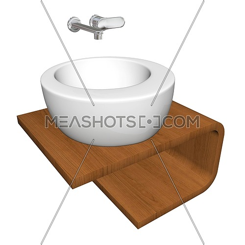 Modern bathroom sink set with ceramic or acrylic wash bowl, chrome fixtures, and wooden base, 3d illustration, isolated against a white background