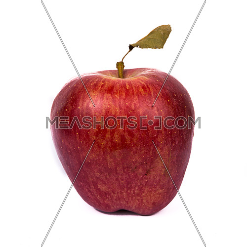 Red apple with dead leaf isolated on a white backgroung