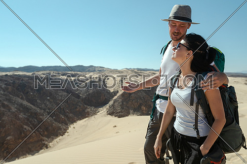 Couple exploring Sinai Mountain from Ain Hodouda at day