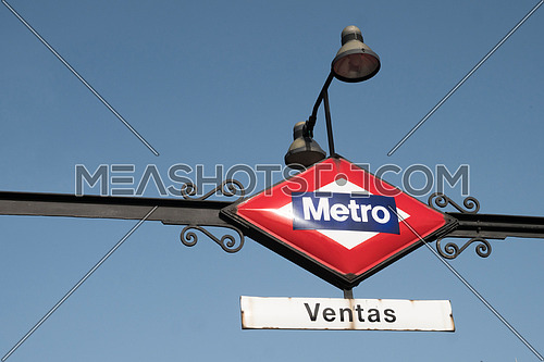 Metro station indicator sign in Madrid, Spain