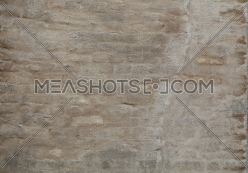 Wall of old vintage rough uneven weathered gray, beige and brown daub plaster over brickwork, close up background texture, side view