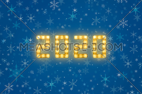 Close up yellow neon glowing bright led light 2020 sign on winter snowflakes blue background with copy space
