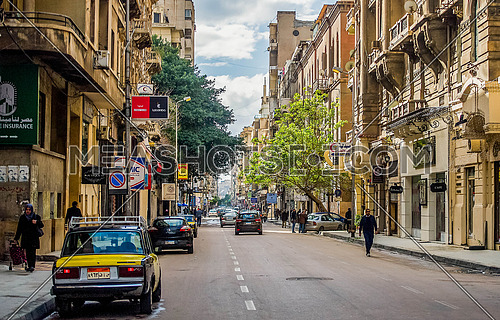 Fouad Street oldest street in Alexandria at day