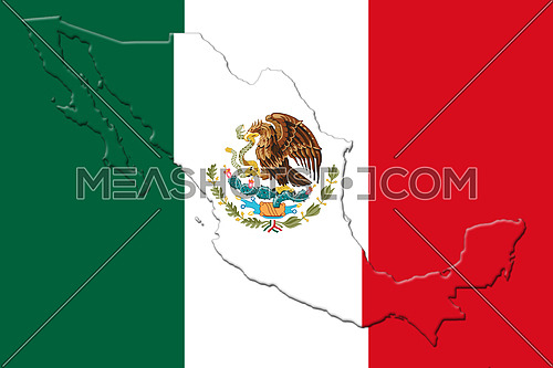 Mexican National Flag With Eagle Coat Of Arms In Shape Of Mexican Map On White Background 3D Rendering