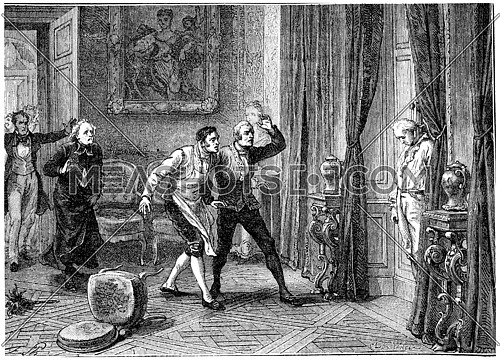 Death of the Prince of Conde, vintage engraved illustration. History of France – 1885.