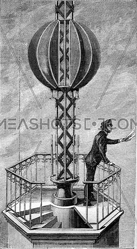 Time-Ball in New York, vintage engraved illustration. Magasin Pittoresque 1880.