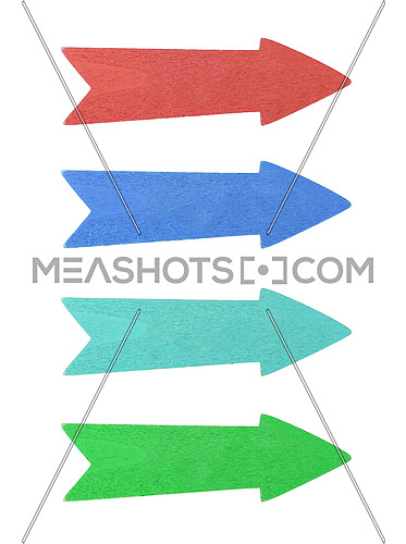 Four multicolor painted wooden direction arrows, red, blue, teal and green, isolated on white background, close up
