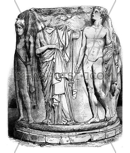 British Museum, Column was the temple of Ephesus, vintage engraved illustration. Magasin Pittoresque 1878.