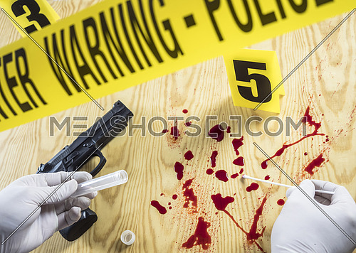 Crime scene for weapon, Judicial police takes blood samples in scene of murder, conceptual image, conceptual image